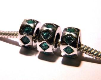 2 10 mm rondelle - rhinestone PG131 turquoise European charm bead