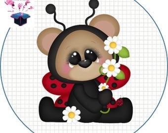 1 cabochon clear 25 mm Ladybug theme