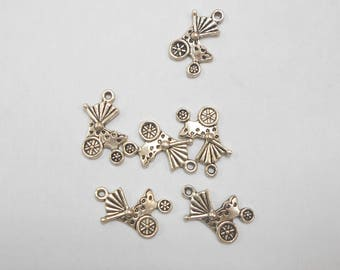6 charms antique silver crib size 2 x 1 cm