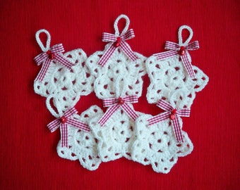 """Christmas ornament - Star white, collection """"Cottage""""."""