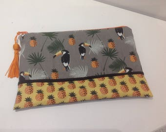 Large POUCH with PARROTS and PINEAPPLE