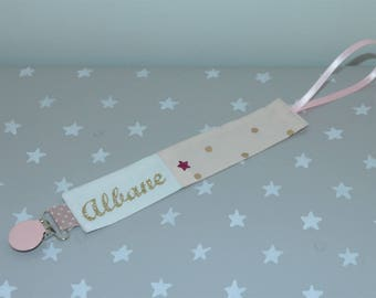 Pink pacifier powder, confetti dots or full name