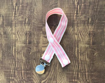 Pink and White Stripes Paci Clip