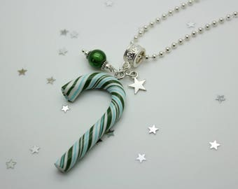 Necklace blue and green Christmas sugar cane