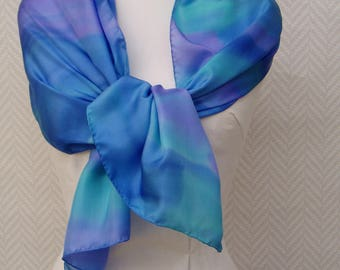 """""""The Caribbean"""" hand painted scarf shawl scarf in purple turquoise blue silk pongee"""