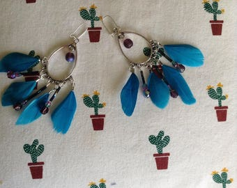 Earrings feathers and faceted beads