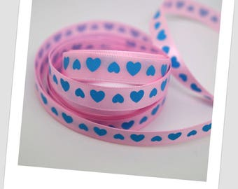 5 meters of 9mm - blue hearts - pink polyester Ribbon