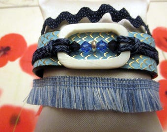 Very bright cuff bracelet with colors of the sky and sea