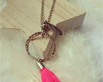 Silver long chain necklace metal pink tassel and metal shuttle