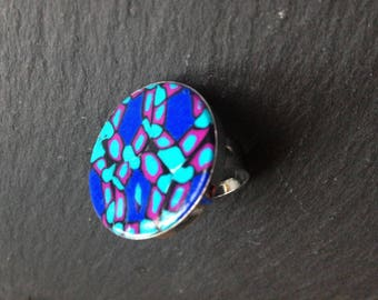 round ring silver adjustable blue polymer clay mosaic