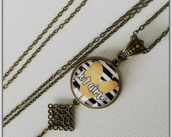 Bronze necklace, glass cabochon, I love you, Valentine, heart, love, Valentine's day