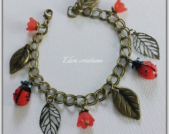bronze charms chain bracelet, red flowers and ladybugs