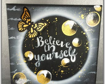 Wall hanging, picture Keychain, believe in yourself, gold, black and gold chalkboard