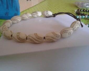 Pearl White and gold bracelet sliding knot lanyard