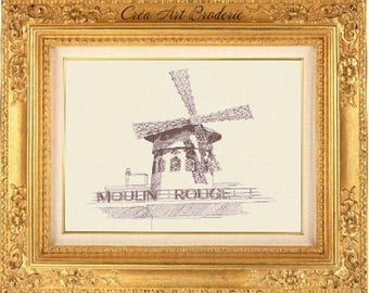 Moulin Rouge Paris counted cross stitch