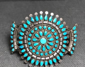 Vintage Zuni Petit Point Cluster Turquoise and Sterling Silver Cuff Bracelet