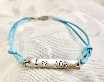 Connector Bracelet, I Heart You, Blue Cord