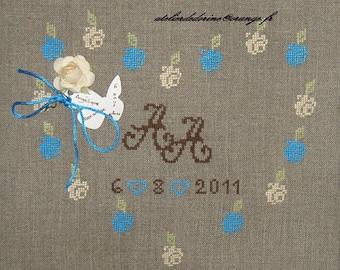 Heart cross stitch card