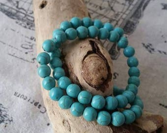 Set of 10 6mm turquoise imitation beads