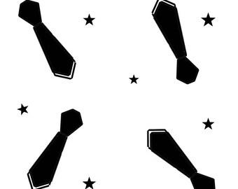 Black tie on white print fabric