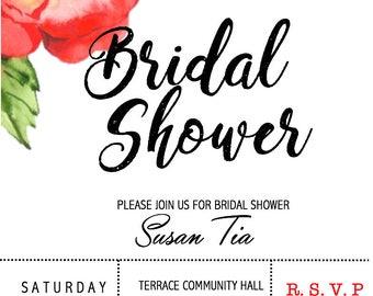 Bridal Shower/ Kitchen Tea Invitation- Floral