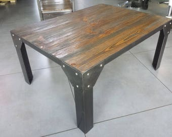 Industrial furniture table coffee steel and wood
