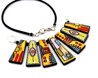 Yellow trapeze necklace - imitation glass.