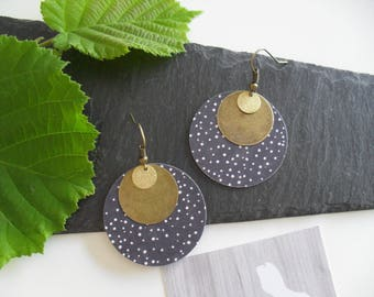 Earrings with paper charms