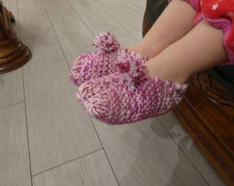 Pink child booties knitting pattern - 21/23