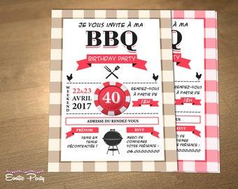 Personalized printable birthday invitation theme: BBQ Party!