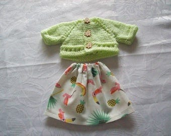 clothes for dolls 32 33 cm, with babies (skirt and vest or sweater)