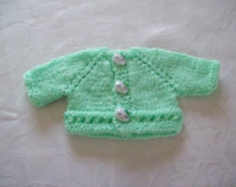 clothing, compatible with babies: Cardigan vest for 32 33 cm dolls by hand (green)