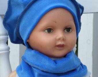 beanie baby and linen snood Hat beret'eva kids Blue Velvet
