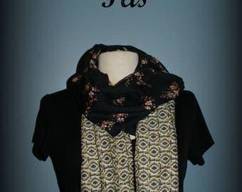 Etole  foulard  écharpe cheich  Black Flower