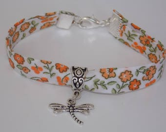 Orange and white Liberty Dragonfly bracelet