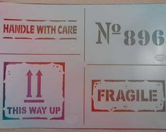 """Stencil flexible """"Fragile"""" stencil plastic"""