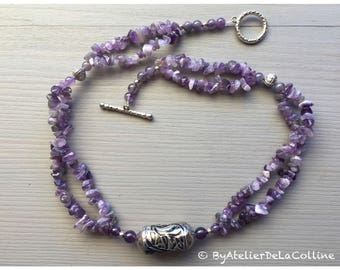 Amethyst necklace with craft berber bead and sterling silver bead, Aden collection
