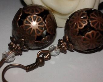 Earrings openwork copper metal beads