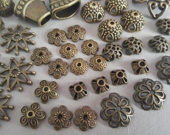 50 bead caps caps metal bronze 6/25 mm