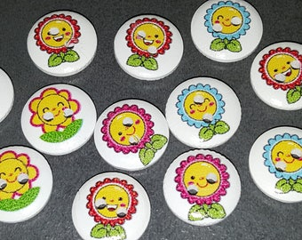 10 buttons pattern of sunflowers flowers wooden 1.5 cm