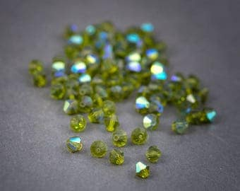 10 pcs - diamond faceted, Czech Crystal beads • green olive transparent 6mm