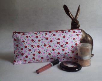 Handmade zipper pouch. Make up bag. Travel bag. Storage bag. Gift for her.