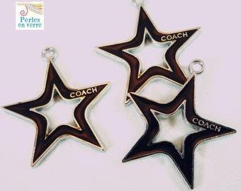 1 charm black enamel star, 25mm (BRE189)