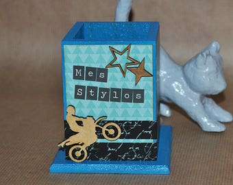 Pencil holder, decorated wooden - gift idea