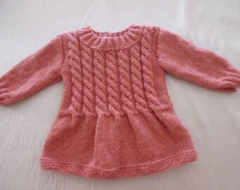 Hand knitted baby dress pink size 6 months