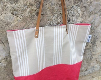 "Linen cotton and pink ""ticking"" tote bag"