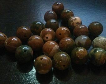 set of 4 round Rhyolite beads 8 mm good quality