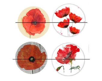 set of 4 Cabochons glass paste Coquelicot4 30 mm