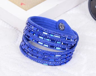 Blue 1 MultiRow bracelet rhinestone colours within 15 days