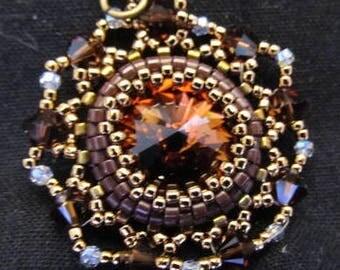 Brown/gold Rivoli crystal pendant